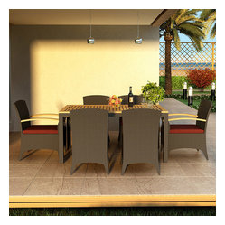 Arbor 7-Piece Modern Outdoor Dining Set, Henna Cushions