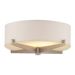 """Philips Forecast Lighting - Fisher Island Flushmount by Philips Forecast Lighting - As timeless and elegant as the luxurious south Florida island it is named after. The Philips Forecast Lighting Fisher Island Flushmount features a 15.25"""" drum shade with sleek mid-century detailing. Ideal for living areas, entryways, bedrooms and much more. For more than 40 years, Philips Forecast has offered their distinctive line of contemporary yet accessible lighting for the home. The Philips Forecast lighting collection runs the gamut of modern design, from simple and transitional to organic to modern industrial. Whatever the style of the fixture may be, attention to detail and quality ensures that it will illuminate and enhance spaces indoors or out for many years."""