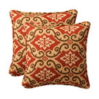 Pillow Perfect - Decorative Red/Tan Damask Toss Pillows Square  Set of Two - - Red/Tan  - 100% Polyester  - 100% Virgin Recycled Polyester Fill  - Self-Cord Edge  - Fade Resistant Mildew Resistant UV Protection Water Resistant Weather Resistant  - Made in USA Pillow Perfect - 386911