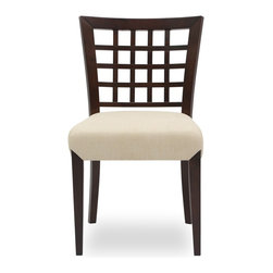Bryght - Amanda Khaki Light Cappuccino Dining Chair - Add a touch of class with the Amanda fabric upholstered Light Cappuccino dining chair. A lovely solid wood latticed back, strengthened by angled joinery and a generously scaled upholstered seat affords maximum comfort without compromising on style. The Amanda dining chair is ideal for everyday use or dinner parties.