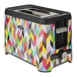 Oster French Bull 2-Slice Toaster - Can a toaster really make you happy? Why, yes it can. Especially when it's a colorful and fun chevron-patterned toaster by French Bull.