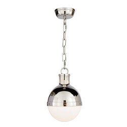 Hicks Small Pendant, Polished Nickel with White Glass - A classic globe pendant light is perfect for the modern kitchen. Hang just one above a breakfast table or hang a matching pair above a beautiful marble counter. The shiny nickel and glass will cast a beautiful glow in any room.