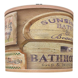 illumalite Designs - Bath House Vintage Lamp Shade - Includes one harp. Brass finish spider fitting. Made from polystyrene. Made in USA. 11 in. Dia. x 9 in. H (1 lbs.)Charming and nostalgic, this design adorns your walls with beautiful vintage signs, all related to the pleasure of a bath. Time honored browns on a rose hued frame. The perfect way to refresh the look of any lamp.