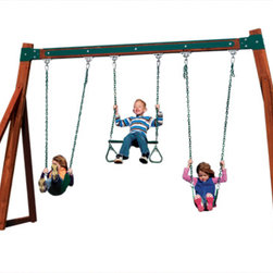 Play Structures for Any Yard size - A free standing 3-position cedar wood swing set, with your choice of swing styles. Dimensions are 12' L x 12' D x 8' H.  Allow an additional 3' of unobstructed space in front of swing center point and 3' behind for safety clearances.  (6' total additional depth.)
