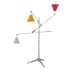 """Sonneman - Sonneman Treluci Multi-Color Floor Lamp - From noted designer Robert Sonneman this wonderful floor lamp design appears to be a free-floating mobile or art sculpture. The design features three adjustable arms each with a brightly colored metal shade. Adjust and point the arms and lamp heads as desired to create a nearly endless number of looks and lighting effects. Base and arms are in a polished chrome finish. On-off switch on each lamp head. Red yellow and white finish metal shades. Takes three 60 watt bulbs (not included). 69"""" maximum height. 73"""" maximum width. 10"""" diameter shades. 33"""" wide base.  Red yellow and white finish metal shades.  Polished chrome finish base and arms.  Takes three 60 watt bulbs (not included).  69"""" maximum height.  73"""" maximum width.  10"""" diameter shades.  33"""" wide base."""