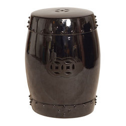 "Kathy Kuo Home - Classic Prosperity Black Ceramic Side Table Garden Seat Stool - 25""H - Traditionally used in China as tea tables- these garden stools make a perfect addition to your living space as side tables, or clustered together to be used as a coffee table.  Glazes are triple fired for added luster and shine.  With a hand made product, glaze variations of up to 10% is to be expected."