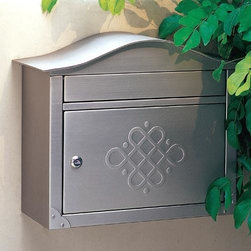 Peninsula Locking Wall-Mount Mailbox - The curved top of this solid brass mailbox contrasts nicely with the rectangular body and insertion slot. Corner embellishments add style, while the locking door ensures security. Offered with or without an elegant embossed design on the door.