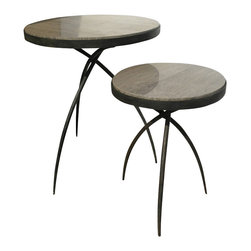 Studio A - Tripod Table w/ Grey Marble Top - Large - Hand forged iron base with polished grey marble inset. Available in two sizes. Each size sold separately.