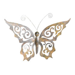 Pier Surplus - Metal Butterfly Wall Decor with Ornate Wings #HD229084 - Graceful and playful, this metal butterfly will add a whimsical touch to any wall. Made from durable materials, it can be used indoors and outside. Its swirling wing pattern and gently curving antennae will delight the child in you. This metal butterfly is easy to maintain; simply wipe off dirt or dust with a mild soap and a damp cloth, and it will be ready to flutter on your wall!