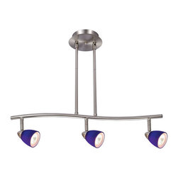 "Design House - Design House 517169 Gibson 3 Light Rail Lighting, 24"" W x 20"" H - Design House Gibson Rail LightThe Curved Arm, Cool Satin Nickel Finish And Stylish Cobalt Blue Glass Light Heads Give The Gibson Rail Lights A Modern Look."