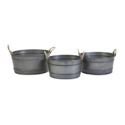 Bayou Galvanized Tubs - Set of 3 - The versatile look of the Bayou galvanized tubs feature rope handles, making this set of three a stylish storage solution for shabby chic, industrial, rustic or coastal decor. Includes small, medium and large stackable sizes.