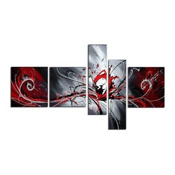 Fabuart - Textured Red Abstract Hand Painted Oil Painting - 5 Panels - 66 x 36 in - This beautiful Art is 100% hand-painted on canvas by one of our professional artists. Our experienced artists start with a blank canvas and paint each and every brushstroke by hand.