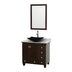 "Wyndham Collection - 36"" Acclaim Single Vanity w/ White Carrera Marble Top, Arista Black Granite Sink - Sublimely linking traditional and modern design aesthetics, and part of the exclusive Wyndham Collection Designer Series by Christopher Grubb, the Acclaim Vanity is at home in almost every bathroom decor. This solid oak vanity blends the simple lines of traditional design with modern elements like beautiful overmount sinks and brushed chrome hardware, resulting in a timeless piece of bathroom furniture. The Acclaim comes with a White Carrera or Ivory marble counter, a choice of sinks, and matching mirrors. Featuring soft close door hinges and drawer glides, you'll never hear a noisy door again! Meticulously finished with brushed chrome hardware, the attention to detail on this beautiful vanity is second to none and is sure to be envy of your friends and neighbors"