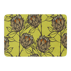 "KESS InHouse - Gill Eggleston ""Protea Olive"" Green Orange Memory Foam Bath Mat (17"" x 24"") - These super absorbent bath mats will add comfort and style to your bathroom. These memory foam mats will feel like you are in a spa every time you step out of the shower. Available in two sizes, 17"" x 24"" and 24"" x 36"", with a .5"" thickness and non skid backing, these will fit every style of bathroom. Add comfort like never before in front of your vanity, sink, bathtub, shower or even laundry room. Machine wash cold, gentle cycle, tumble dry low or lay flat to dry. Printed on single side."