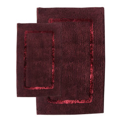 None - Greenville Port Wine 2-Piece Bath Rug Set - This 2-piece bath mat set will enhance the look of your bathroom and create an inviting atmosphere. The rich,port wine color makes you want to sink your feet into these rugs,and the cotton/rayon material means they are machine-washable.