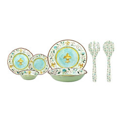 Le Cadeaux - Le Cadeaux Romana 16 PC Melamine Dinnerware Set, 16 Pc Dinnerware Set - Triple strength melamine - not microwave safe but dishwasher safe.