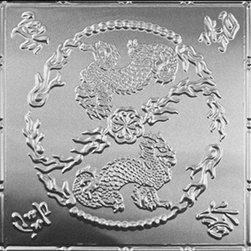 """Decorative Ceiling Tiles - Asian Dragons - Aluminum Ceiling Tile - 24""""x24"""" - #2490 - Find copper, tin, aluminum and more styles of real metal ceiling tiles at affordable prices . We carry a huge selection and are always adding new style to our inventory."""