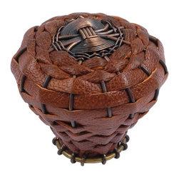Atlas Homewares - Aged Bronze Hamptons Saddle Leather Knob (ATH3175O) - Aged Bronze Hamptons Saddle Leather Knob