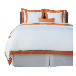 LaCozi - LaCozi Sateen Persimmon Pintuck Duvet Cover Set - 1100 thread-count Sateen Duvet Set Includes: