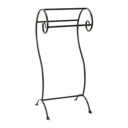 Stone County Ironworks - Waterbury Towel Stand (Natural Black) - Finish: Natural Black. Elegant design. Curled legs. Made from iron. 17.5 in. W x 14 in. D x 36 in. H. Weight: 19 lbs.