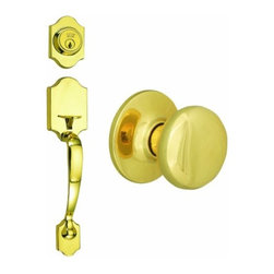 DHI-Corp - Sussex 2-Way Latch Entry Door Handle Set with Knob, Handle and Keyway - The Design House 753582 Sussex 2-Way Latch Entry Handle Set accepts a key on one side of the lock but is operated by a handle on the other side. Finished in polished brass finish and designed for left or right hand doors, this knob and keyway fit the two most common backsets in the U.S. (2-3/4-inch and 2-3/8-inch). The 1/2-inch latch bolt is plated in nickel and does not budge once in place. Entry knobs are often used on front doors and back doors. Use this knob on standard 1-3/8-inch and 1-3/4-inch thick doors. This product has a 1-inch by 2-1/4-inch radius corner face plate and 5-pin security. If you are preparing your door for installation, the cross bore should be 2-1/8-inches in diameter and the edge bore should be 1-inch in diameter. This product comes with a door handle, knob and keyway and is ANSI Grade-3 certified, which means this kit is rated for residential security. The Design House 753582 Sussex 2-Way Latch Entry Handle Set comes with a limited lifetime mechanical warranty and a 5-year finish warranty that protect against defects in material and workmanship. Design House offers products in multiple home decor categories including lighting, ceiling fans, hardware and plumbing products. With years of hands-on experience, Design House understands every aspect of the home decor industry, and devotes itself to providing quality products across the home decor spectrum. Providing value to their customers, Design House uses industry leading merchandising solutions and innovative programs. Design House is committed to providing high quality products for your home improvement projects.