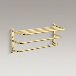 KOHLER - KOHLER Revival(R) three-tier towel shelf - Bring the essence of Art Deco to your bathroom with Revival accessories, which incorporate elliptical shapes and rolled edges inspired by classic 1920s design. At home in both traditional and contemporary bathrooms, this three-tier shelf offers a stylish