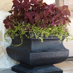 """Horchow - Casilla Planter - Squat, urn-shaped planter is ideal for showcasing favorite florals and greenery. Handcrafted of pulverized natural stone and polyresin. Hand-painted latex finish. Outdoor safe. 24""""Sq. x 22""""T."""
