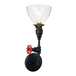 "Hammers & Heels - Hand Blown 6"" Clear Glass Shade Vintage Valve Pipe Wall Sconce - Matte Black - THE VINTAGE VALVE INDUSTRIAL PIPE WALL SCONCE"
