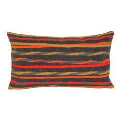 """Trans-Ocean Inc - Twist Stripe Grey/Warm 12"""" x 20"""" Indoor Outdoor Pillow - The highly detailed painterly effect is achieved by Liora Mannes patented Lamontage process which combines hand crafted art with cutting edge technology. These pillows are made with 100% polyester microfiber for an extra soft hand, and a 100% Polyester Insert. Liora Manne's pillows are suitable for Indoors or Outdoors, are antimicrobial, have a removable cover with a zipper closure for easy-care, and are handwashable.; Material: 100% Polyester; Primary Color: Grey;  Secondary Colors: orange, red; Pattern: Twist Stripe; Dimensions: 20 inches length x 12 inches width; Construction: Hand Made; Care Instructions: Hand wash with mild detergent. Air dry flat. Do not use a hard bristle brush."""