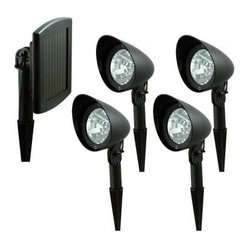 Nature Outdoor Lighting. Solar Outdoor Black LED Spotlight System (4-Pack)