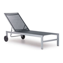 """ZUO - Castle Peak Chaise Lounge - Black & Silver - Lounge chairs don't often merit the word """"sophisticated"""", but the sleek Castle Peak Lounge Chair makes the grade. The frame is made of aluminum and the cover is a durable polyester mix that withstands UV rays and water. Comes in white or black and silver."""