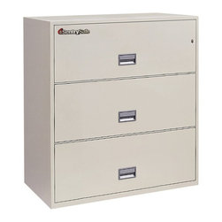 SentrySafe - SentrySafe L3610 Insulated 3 Drawer Lateral Filing Cabinet - 36 Inch - 3L3610B-C - Shop for File and Storage Cabinets from Hayneedle.com! Keep an enormous amount of documents and other goods safe and secure with the extra-wide SentrySafe L3610 Insulated 3 Drawer Lateral Filing Cabinet - 36 Inch. This spacious and sleek cabinet is constructed from heavy-duty metal that's been thoroughly insulated against dust and debris and provides phenomenal fire protection. This could be anything from a full hour in 1700 degrees Fahrenheit or a severe temperature increase like that of a small explosion. It's so durable that even a 30-foot drop cannot impact this sturdy cabinet's frame. And to provide maximum security a plunger key lock has been included to secure all three drawers from light fingered thieves. Each of these drawers opens with easy-to-use recessed handles with label holders and accommodates letter- and legal-size hanging file folders. The overall dimensions of this unit are 35.8W x 20.5D x 40.6H inches. Available in your choice of black gray light gray sand tan and putty finish.Shipping OptionsDock-to-Dock Freight ServiceNo additional charge. Dock-to-dock includes commercial freight delivered to a commercial loading dock. Recipient is responsible for unloading product final placement unpack and debris removal. Not available for residential deliveries.Curbside DeliveryDelivery personnel will present goods to ground level at rear of delivery vehicle. Recipient is responsible for final movement of goods unpack and debris removal. Curbside delivery will not bring the item up to a residence.Threshold ServiceDelivery personnel will remove goods from truck and place goods inside first exterior doorway garage or carport. Service includes up to four steps exterior to the first doorway. Customer is responsible for final product placement unpack and debris removal. Inside Delivery ServiceDelivery personnel will remove goods from truck place goods in your room of choice and complete unpack and debris removal. Includes lift gate service and stair carry of 0-4 internal and external steps. Does not include site preparation or protection.About SentrySafeFor over three generations family-owned SentrySafe has been with you protecting your valuables providing you peace of mind. SentrySafe uses rigorous testing standards to ensure your items are protected from fire water and theft. They offer safes in a wide range of sizes and types and continue to innovate protection technology. They are proud to make all of their products right here in the United States. SentrySafe is a name you can trust for all your irreplaceable items.
