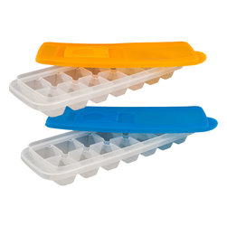 Chef Buddy - Chef Buddy Ice Cube Trays with Lids (Set of 2) - Make filling ice cube trays a quick and spill-free process with these ice cube trays with locking lids. Each tray features an easy-fill system that allows you to fill the tray then lock the lid for transportation sink to freezer without losing a drop.