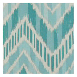 Duralee Seaglass - Seaglass elements is a soothing aqua blue placed into a jocular chevron pattern.
