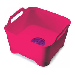 Joseph Joseph - Wash & Drain, Pink - This basic piece of kitchen equipment is given a stylish and practical update with this smart, thoughtful design. It has an integrated plug which means water can be quickly drained away, eliminating the problem of lifting and emptying a heavy bowl. The plug can also be set to strain the water for food particles, allowing them to be easily disposed of and helping to prevent sink blockages. Its steep sides help keep water and soapsuds safely inside and large carry handles mean it can be easily carried,