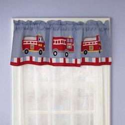 Pem America Fire Truck Valance - Add a fun touch to your child's room with the beautifully designed Pem America Fire Truck Valance. Fun and brightly colored firetrucks on a blue background will dance merrily across the window while the soft, cotton fabric is made to last. About Pem America Makers of high quality handcrafted textiles, Pem America Outlet specializes in bedding that enhances your comfort and emphasizes the importance of a good night's rest. Comforters, quilts, pillows, and other items for the bedroom are made with care and craftsmanship by Pem America. Their products cover a wide range of materials, styles, colors, and designs, all made with long-lasting quality construction and soft, long-wearing materials. Details like fine stitching, embroidery and crochet decorations, and reinforced seaming make Pem America bedding comfortable and just right for you and your family.