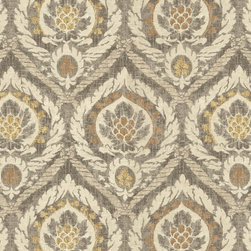 "Ballard Designs - Scandicci Gray Fabric by the Yard - Content: 100% cotton. Repeat: Non-railroaded fabric with 27"" repeat. Care: Dry clean. Width: 55"" wide. Dramatic antiqued damask in taupe, gray, latte & mustard printed on supple 100% cotton. . . . . Because fabrics are available in whole-yard increments only, please round your yardage up to the next whole number if your project calls for fractions of a yard. To order fabric for Ballard Customer's-Own-Material (COM) items, please refer to the order instructions provided for each product.Ballard offers free fabric swatches: $5.95 Shipping and Processing, ten swatch maximum. Sorry, cut fabric is non-returnable."