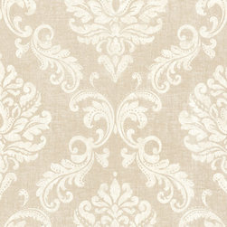 Sebastion Beige Damask Wallpaper. - With notes of royalty and grand fashion, this gorgeous damask wallpaper creates a contemporary glamour. An majestic golden shimmer reposes beyond a dappled cream damask pattern.