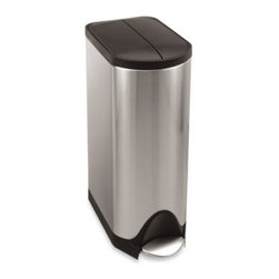 Simplehuman - simplehuman 30-Liter Butterfly Step Trash Can - This can's innovative butterfly lid design opens from the center for maximum clearance under low countertops. Its slim shape allows it to fit in tight spaces with ease.