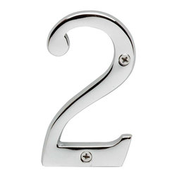 Renovators Supply - House Numbers Chrome House Number # 2 - House numbers: Crafted of chrome over solid brass, these sand cast numbers measure 3-7/8 in. high. Beautiful chrome will withstand the test of time. Includes 2 screws for mounting.