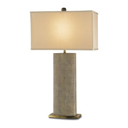 Currey and Company - Currey and Company Rutherford Traditional Table Lamp X-5536 - A beautiful porcelain lamp in a faux sharkskin finish. The shade is beige silk and the lamp has brass accents.