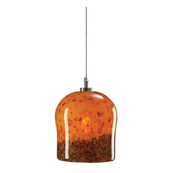 PLC Lighting - AMBER BLUE Cobalt Blue Single Light Mini Pendant from the Fuzio Collection - Fuzio Mini Drop Glass Pendant with a Satin Nickel Canopy Supplied with 10' of coaxial cable 1 50w 12V G4 bulb included Due to the nature of blown glass, shade may differ in color or pattern
