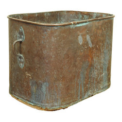 A French Neoclassical Period Copper Bathtub - the rectangular shaped top having rounded edges and two large handles, resting on a wooden frame