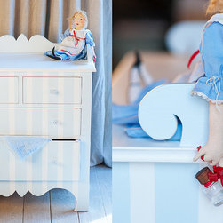 Harry's Dresser by Bradshaw Kirchofer Handmade Furniture - Harry's Dresser is a charismatic addition to a child's room. This stylish dresser is rimmed along the back to define a baby changing area. This area is also perfect for displaying your child's favorite photos or collectables. It may be ordered with a solid paint or stained finish, or striped (as shown). Crafted using traditional mortise and tenon joinery.