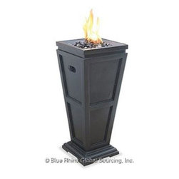 """Blue Rhino - Uniflame LP Gas Column Firepit Med - Uniflame Outdoor LP Gas Fireplace with Decorative Black Slate finish; Faux Stone Construction; Accessible Control Panel; Includes Black Glass; Simple Assembly - No Tools Needed; LP Gas Tank Not Included; Electronic Ignition; 10 000 BTU's; 11.8"""" x 11.8"""" x 28""""."""