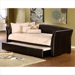 Hillsdale - Montgomery Daybed, Brown Faux Leather - The Montgomery daybed is the perfect fit for any d cor from Contemporary to eclectic. This stunning sleigh style daybed has both a modern edge and a practical side. Covered in an easy to care for warm brown faux leather, this daybed also offers an optional matching trundle. The Montgomery daybed is a great fit for any guest room, office or teen's bedroom. Features: -Brown faux leather.-Montgomery collection.-Collection: Montgomery.-Distressed: No.Dimensions: -Overall Dimensions: 39'' H x 94'' W x 42'' D.