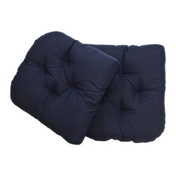 US Bedding - Navy Blue Diamond Tufted Wicker Chair Pad (Set of 2
