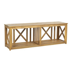 BRANCO BENCH - Constructed using beautiful acacia wood with a teak finish and galvanized steel accents, this storage bench is a must-have for any modern home. Add pillows to the top for a comfy place to sit in the foyer when taking off your shoes to store underneath. Or use it in the living room to store books, display loose items, and a table lamp. Or use it as your media console for years to come.
