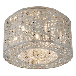 ET2 - ET2 Inca Contemporary Flush Mount Ceiling Light X-CP01-00312E - Legendary meets contemporary with the Inca Collection. Reminiscent of the mythical tales of Incan treasures, the fixtures offer brilliantly shining crystal enclosed within a precision laser-cut sheath that cannot be duplicated. The glow of the xenon light from within casts a beautifully radiant shine that adorns the outer permeable layer.