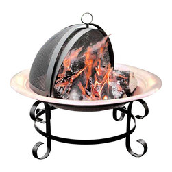 Landmann - Short Copper Scroll Fire Pit - Large copper bowl fire pit will garner a patina as it ages.  Scrolled legs and stand have a black powder coat finish.  A two piece swivel spark guard makes it easy to tend the fire.  There's also a charcoal grate if you want to cook. * Enjoy the pleasure of a wood fire on summer evenings with a Scroll Copper Fire Pit. The handsome copper bowl will darken to a beautiful patina over time. Solid copper bowl for longer life. 2-piece deluxe swivel opening or 1-pc spark guard for easy access to the fire. Powder coated scroll steel stand. Includes charcoal grate. Sturdy and very durable. Very easy assembly. Offers 360° viewing of the fire. Makes a great ice pit for keeping your drinks cold. Diameter: 30 in.. Shipping Weight: 27 lbs.